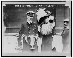 Capt. Rostron of the Carpathia being presented a loving cup by the survivors from Mrs. J.J. Brown, better known through the ages as the Unsinkable Molly Brown.