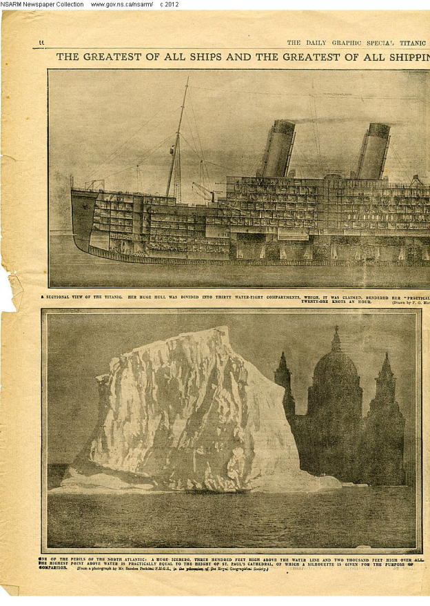 The iceberg compared to St. Paul's Cathedral in a London newspaper report.