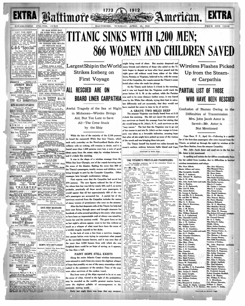 Baltimore American April 16 1912