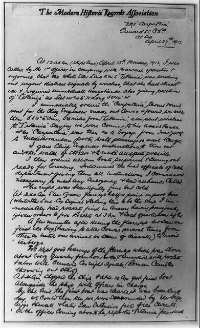 Capt. Rostron's handwritten account of Titanic disaster