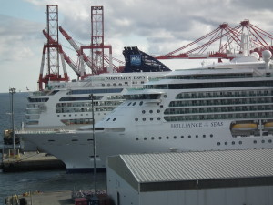 Halifax is a large port with lots of cruise ships and freighter traffic.